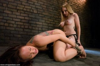 asian, femdom, strapon, tied up