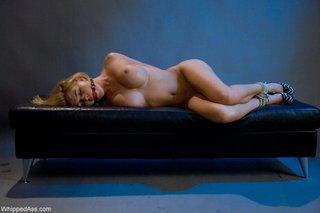 blonde, femdom, strapon, tied up