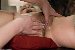blonde, femdom, slave, strapon