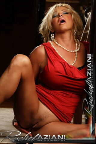blonde woman red having