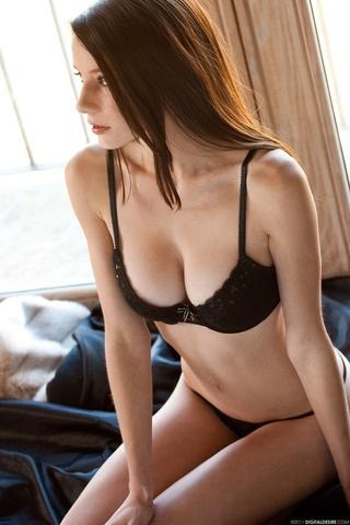 inviting brunette wears push-up