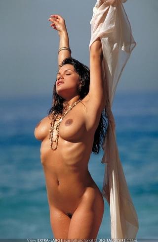 tanned beach babe rolls