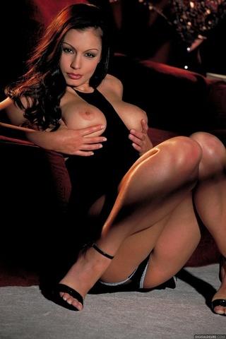 luxurious brunette seduces black