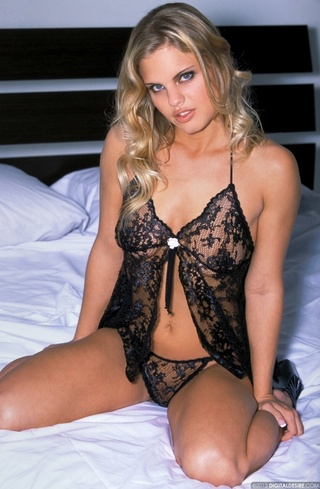 beautiful natural-boobed blond black-lace