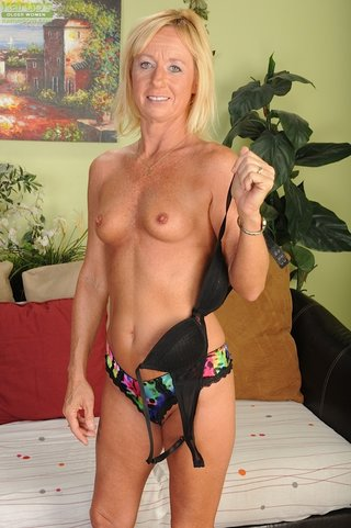 fit blonde granny displays