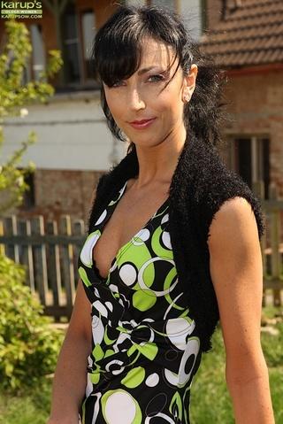 slim brunette black lingerie