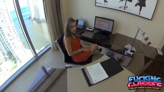 long-legged office girl red