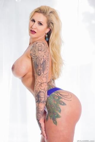tattooed blonde blue lingerie