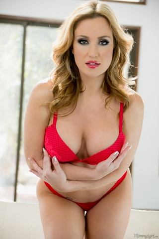 seductive blonde wearing red