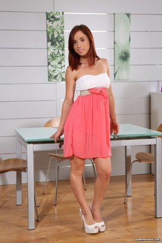 dress, hardcore, redhead, table