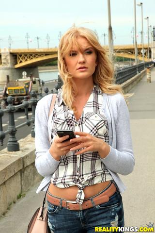 blonde jeans white lingerie
