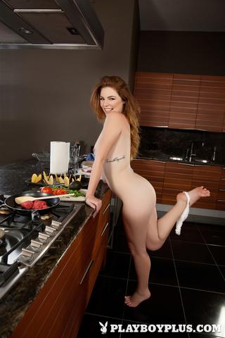sexy redhead blue kitchen