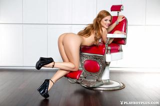 redhead red lips heels