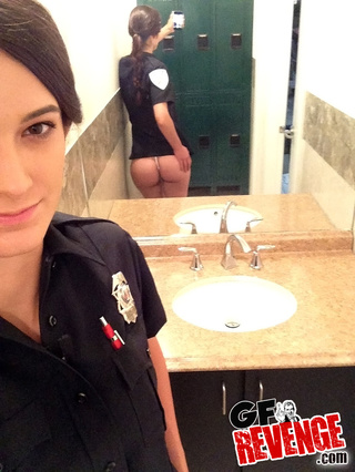 petite brunette police uniform