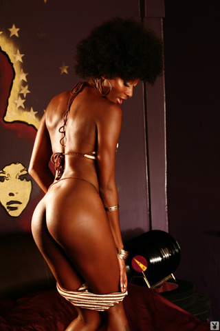 afro babe shows chocolate