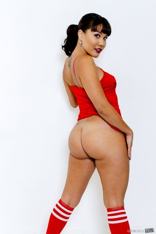 spicy tattooed brunette red