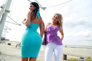 brunette loses blue dress