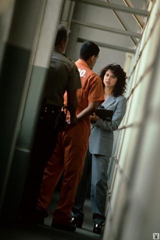 brown-eyed brunette prison warden