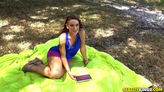 redhead lass purple miniskirt