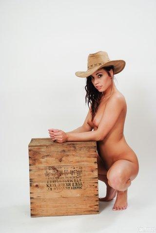 tempting brunette straw hat