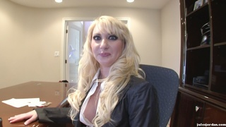horny businesswoman loves suck
