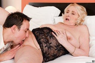 blonde granny black lingerie