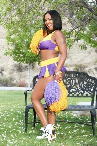 chubby ebony gal cheerleader
