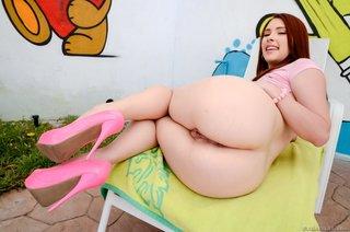redhead babe pink high