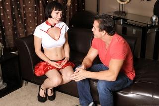 pleasing brunette red silk