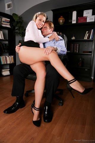 slut stockings Office wearing