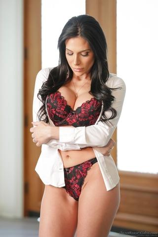 brunette office lady undressing