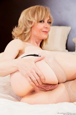 purple lingerie blonde gilf