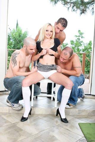 tattooed blonde black heels