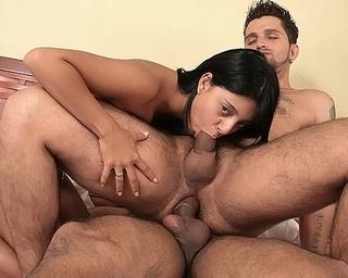 latin minx joins threesome