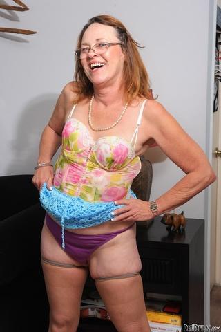 brunette granny blue skirt