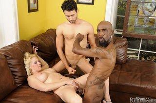 busty blonde black thongs