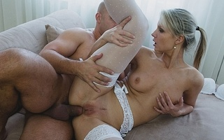 blonde white lingerie blows