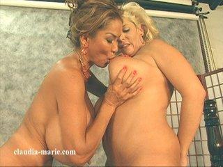 two mature lesbians pinching