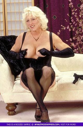 blonde grandma displays fat