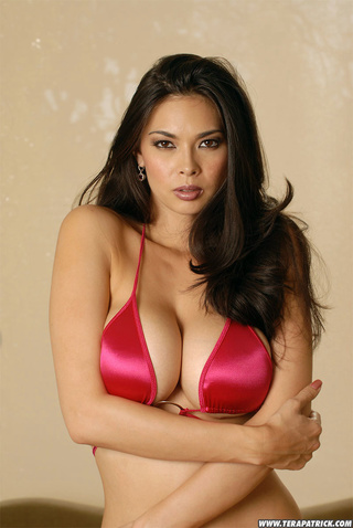 big tits brunette red