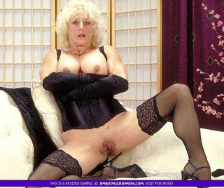 steaming hot blonde granny