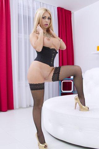 blonde stockings circled hard