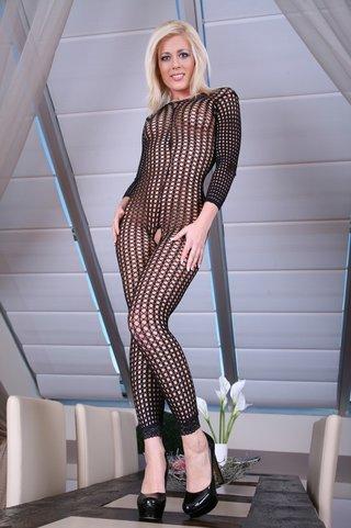 skinny blonde mesh bodysuit
