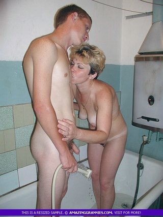 naked granny teases young