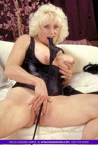blonde granny shows big