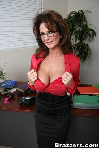 delightful brunette red blouse