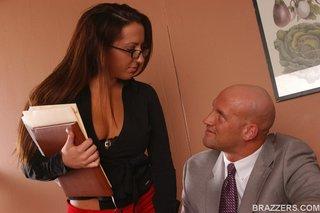 magnetic brunette dark blouse