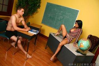 slutty latina teacher holds