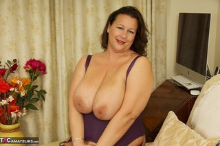 brunette milf purple lingerie