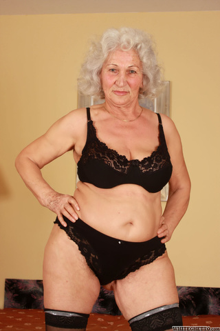 gray-haired granny big breast